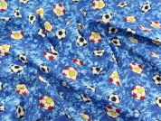 Football Print Cotton Poplin Fabric  Blue