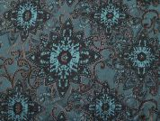 Metallic Brocade Fabric  Turquoise