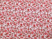 Floral Print Polyester Crepe Dress Fabric  Coral