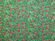 Floral Cotton Fabric  Pink & Emerald