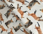 Digital Print Cotton Fabric  Brown