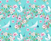 Digital Print Cotton Fabric  Turquoise