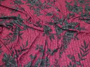 Floral Rib Jersey Knit Fabric  Plum & Charcoal