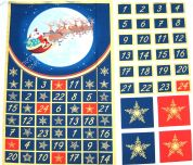 Santa & His Reindeer Christmas Advent Calender Fabric Panel