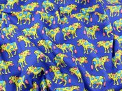 Psychedelic Cows Print Cotton Poplin Fabric  Blue & Yellow