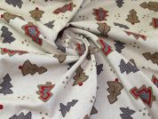 Christmas Linen Look Canvas Fabric  Natural