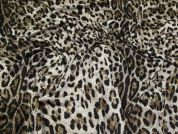 Leopard Print Ponte Roma Fabric  Brown