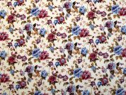 Floral Print Cotton Dress Fabric  Cream