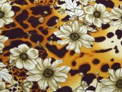 Floral Animal Print Georgette Dress Fabric  Brown & Mustard