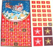 Santa & His Sleigh Christmas Advent Calender Fabric Panel