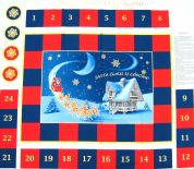 Santa Claus is Coming Christmas Advent Calender Fabric Panel