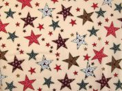 Christmas Fancy Stars Print Cotton Fabric  Beige