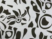 Abstract Print Cotton Sateen Fabric  White & Brown