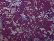 Textured Floral Weave Lurex Brocade Dress Fabric  Purple