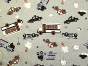 Ambulance Cars Print Cotton Poplin Dress Fabric  Beige