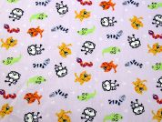 Cute Animals Print Cotton Dress Fabric  Lilac