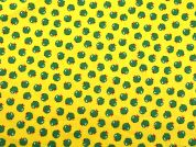 Apples Print Cotton Dress Fabric  Yellow & Green