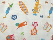 Beach Holiday Print Cotton Poplin Dress Fabric  Multicoloured