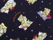 Bedtime Teddy Bear Print Cotton Dress Fabric  Navy Blue