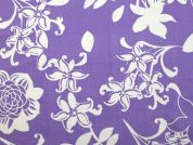 Floral Print Cotton Poplin Dress Fabric  Violet