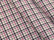 Plaid Check Polyester Suiting Dress Fabric  Pink Multi