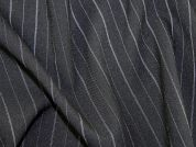 Pinstripe Polyester Suiting Dress Fabric  Black & White