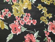 Floral Print Polycotton Dress Fabric  Black