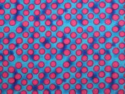 Spotty Print Cotton Poplin Dress Fabric  Pink & Turquoise