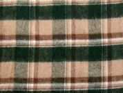 Brushed Texture Plaid Check Suiting Fabric  Beige & Green