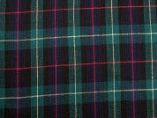 Brushed Texture Plaid Check Suiting Fabric  Navy & Bottle