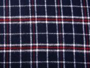 Brushed Texture Plaid Check Suiting Fabric  Navy & Red