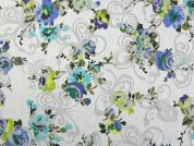 Floral & Butterfly Burn Out Print Cotton Lawn Fabric  Multicoloured