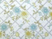 Floral Burn Out Polyester & Cotton Voile Dress Fabric  Ivory
