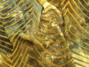 Abstract Print Polyester Georgette Dress Fabric  Gold