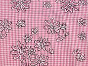 Floral Burnout Gingham Voile Dress Fabric  Pink