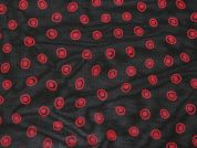 Spotty Print Rayon Chiffon Dress Fabric  Black & Red