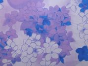 Floral Print Polyester Georgette Dress Fabric  Lilac & Blue