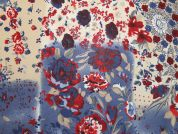 Floral Print Polyester Georgette Dress Fabric  Blue & Red