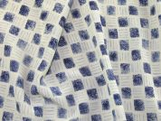 Squares Print Polyester Microfibre Dress Fabric  Ivory & Blue