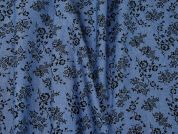 Floral Print Chambray Denim Dress Fabric  Blue