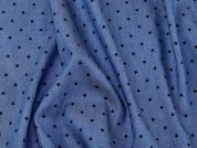Star Print Chambray Denim Dress Fabric  Blue