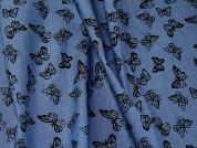 Butterfly Print Chambray Denim Dress Fabric  Blue