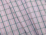 Woven Plaid Check Polycotton Shirting Dress Fabric  Navy & Pink