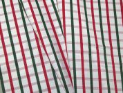 Woven Plaid Check Polycotton Shirting Dress Fabric  White, Pink & Green