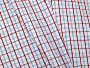 Woven Plaid Check Polycotton Shirting Dress Fabric  White, Red & Red
