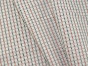 Woven Plaid Check Polycotton Shirting Dress Fabric  White, Red & Navy