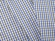 Woven Plaid Check Polycotton Shirting Dress Fabric  White & Blue