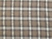 Crinkled Texture Woven Check Polyester Dress Fabric  Beige
