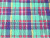 Plaid Check Textured Polycotton Dress Fabric  Multicoloured
