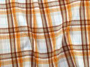 Plaid Check Crinkle Seersucker Dress Fabric  Orange